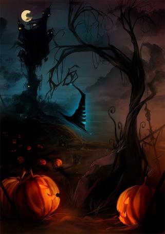 Фото Тёмной ночью в хэллоуин бродит шляпка среди тыкв (© Яра), добавлено: 18.10.2011 14:53