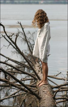 Фото Девушка о чём-то раздумывая, стоит на поваленном в воду  дереве (© Anatol), добавлено: 21.10.2011 15:13