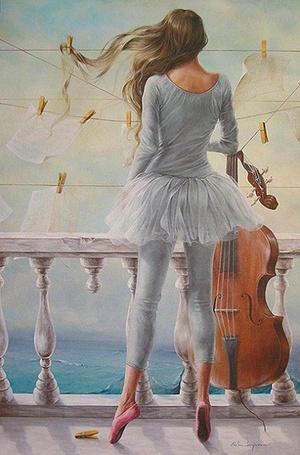 Фото Художник Sanjuan Chelin Piquero-скрипачка смотрит с балкона на море (© Anatol), добавлено: 21.10.2011 17:14