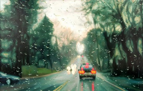 Фото Поездка в непогоду (трасса через лобовое стекло автомобиля) (© Флориссия), добавлено: 22.10.2011 16:49