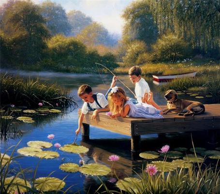 Фото Дети и собака лежат на мостике, ловят рыбу, любуются лилиями, мальчик даже достал одну в подарок востроносой девчушке. (© Anatol), добавлено: 22.10.2011 21:58