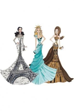 Фото Три девушка прдетсвляют собой три достопримичательности разных городов. Эйфелева Башня. Статуя Свободы. Биг-Бен.