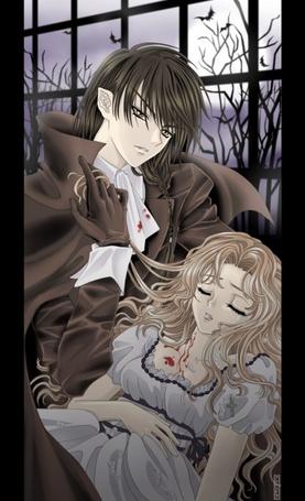 Фото Вампир держит на руках свою возлюбленную, у которой он выпил кровь