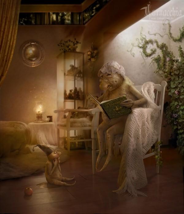 Фото Бабушка - чудик читает книгу с рецептом драников, а ее внук - чудик сидит на полу ( Работы Cornacchia)