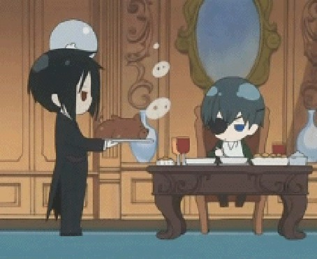 Фото Себастьян приготовил Сиэлю поросёнка (анимация из первого эндинга аниме Тёмный дворецкий / Kuroshitsuji)