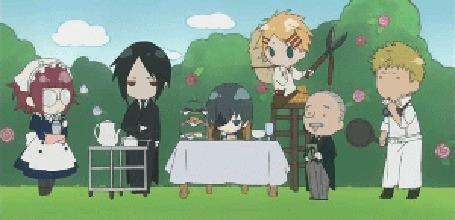 Фото Сиэль кушает в саду (анимация из первого эндинга аниме Тёмный дворецкий / Kuroshitsuji) (© D.Phantom), добавлено: 03.11.2011 03:30