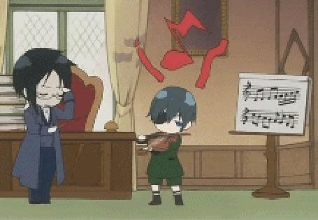 Фото Себастьян учит Сиэля играть на скрипке (анимация из первого эндинга аниме Тёмный дворецкий / Kuroshitsuji)