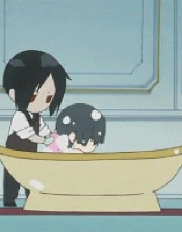 Фото Себастьян купает Сиэля (анимация из первого эндинга аниме Тёмный дворецкий / Kuroshitsuji) (© D.Phantom), добавлено: 03.11.2011 03:36