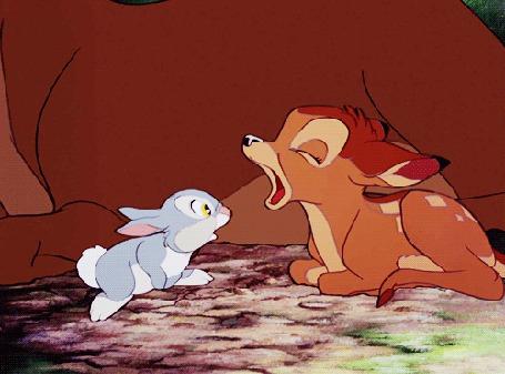 Фото Бэмби зевает, а зайченок заглядывает ему в рот из мульфильма Бэмби / Bambi, ein Leben im Walde (© Anatol), добавлено: 09.11.2011 17:18