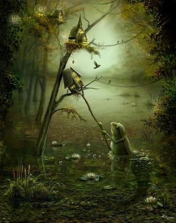 Фото Большая жаба из болота сбивает палкой скворечники фей с дерева