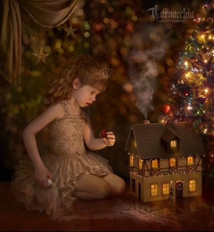 Фото Маленькая девочка играет с домиком ( Работы Cornacchia)