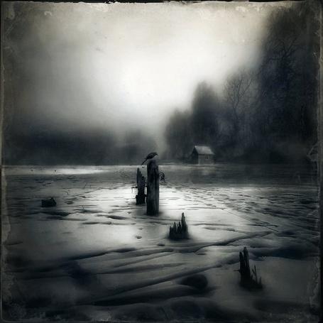 Фото Ворон на зимнем озере сидит на деревянном обломке (© Флориссия), добавлено: 10.11.2011 17:24