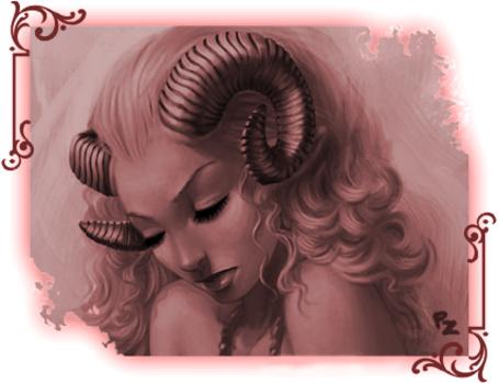Фото Девушка демон грустно опустила голову