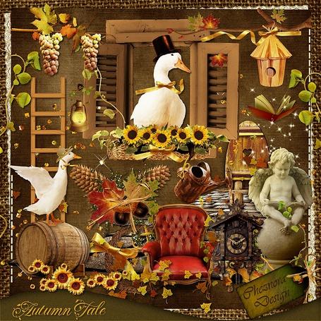 Фото Гусь в черной шляпе с золотым бантом сидит в окне среди подсолнухов, внизу стоит красное кресло, бочка,часы с кукушкой, листья (Autumn Tale (hjora Design))