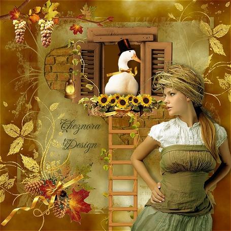 Фото Девушка в соломенной шляпе стоит у окна в котором гусь в черной шляпе сидит среди подсолнухов (Ghjora Design)