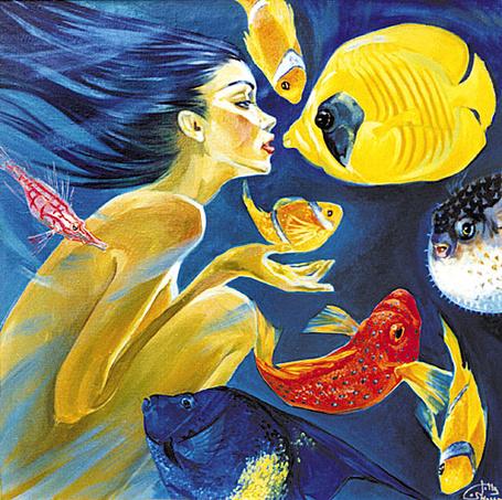 Фото Девушка под водой разговаривает с рыбами (© Anatol), добавлено: 22.11.2011 03:57