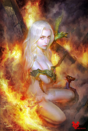 Фото Девушка в адском пламени прижимает к себе с материнской заботой дитёнышей дракона (Argarien)