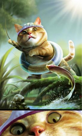 Фото Кот ловит рыбу