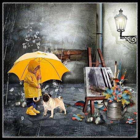 Фото Прогулки под дождем (маленький мальчик под зонтом с собакой)