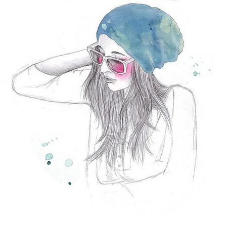 Как рисовать девушку в шапке
