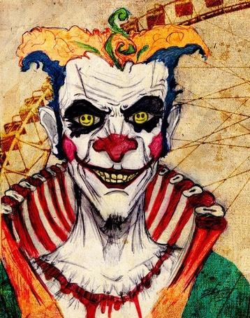Фото Клоун на фоне Чертового колеса (© bad luck), добавлено: 29.11.2011 02:55