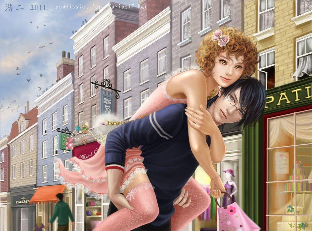Фото Влюблённый юноша несёт любимую по улицам города (commission for Kuriosit-Kat)