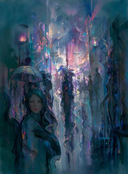 Фото Девушка под дождем на городской центральной улице