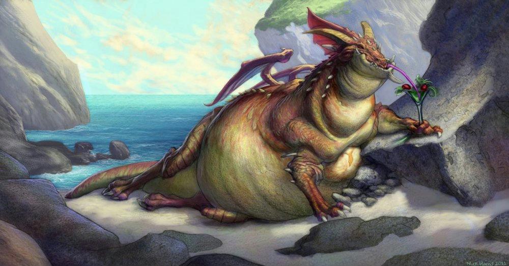 Фото Зажиревший, ленивый дракон-вегетарианец на морском берегу попивает коктейль