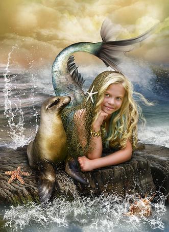 Фото Девочка - русалочка с тюленем (Cindy Grundsten)