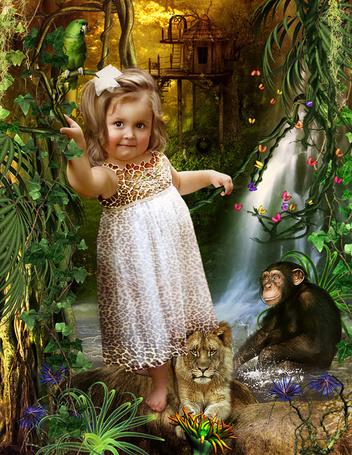 Фото Девочка в волшебном лесу с львёнком, обезьяной и попугаем (Cindy Grundsten)