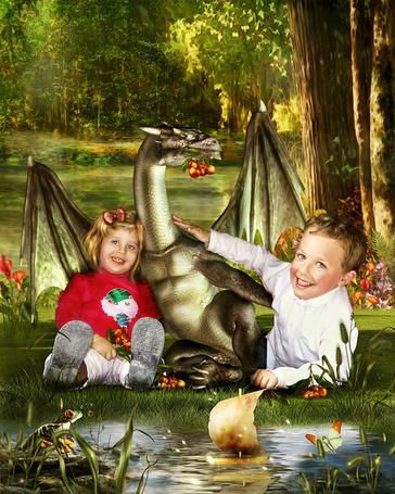 Фото Дети вместе с дракошей запускают кораблики в ручей (Cindy Grundsten)