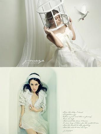 Фото Девушка с клеткой на голове и девушка в ванной (J-maya photography)