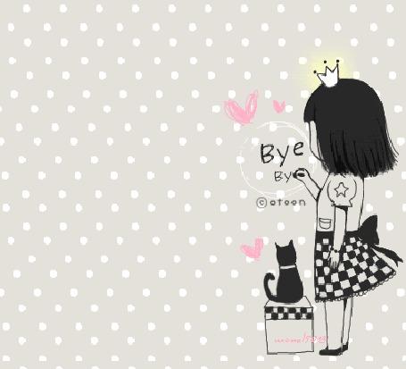 Фото Девушка пишет на стене Bye Bye, рядом кошка (© Anatol), добавлено: 04.12.2011 03:09
