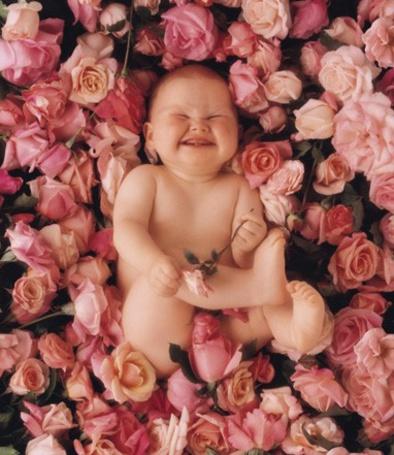 Фото малыша в цветах 90