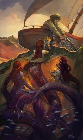 Фото Русалки предлагают рыбаку несметные сокровища со дна морского, за то, чтобы он отпустил, пойманную в сети, рыбу.