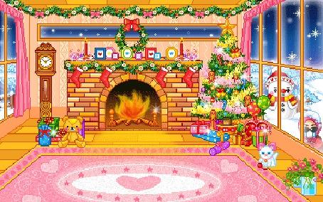 Фото Новогодняя ёлка с игрушками, рядом камин, подарки, игрушки, котёнок, за окном кружит снег и стоит снеговик