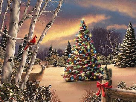 Фото Белочка, птицы, лань-все пришли полюбоваться на новогоднюю елочку с разноцветными гирляндами вдруг появившуюся в их лесу