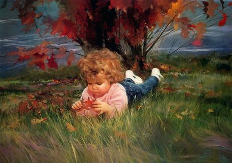 Фото Художник Donald Zolan. Кучерявый мальчик лежит в траве и рассматривает осенний лист (© lemon), добавлено: 06.12.2011 22:58