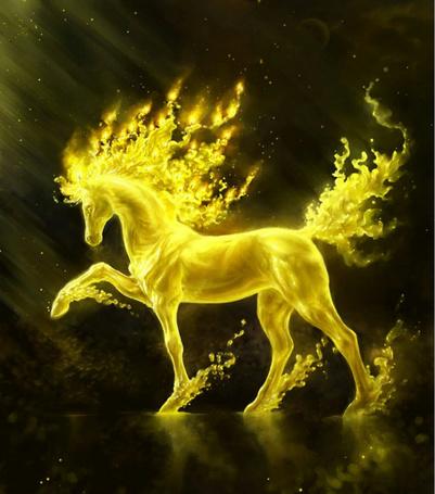 Фото Золотой конь с кудрявой гривой, из под копыт летят золотые брызги (© Anatol), добавлено: 07.12.2011 18:41