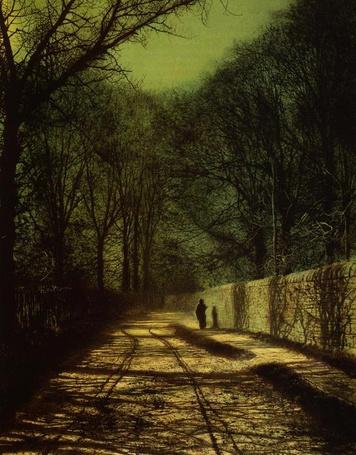 Фото Мрачная улица по которой идёт человек (© lemon), добавлено: 07.12.2011 20:26