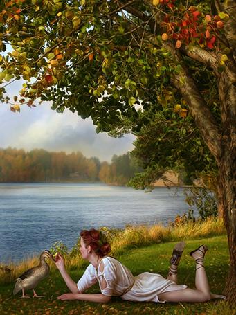 Фото Девушка возле водоёма кормит гуся(художница Cindy Grundsten) (© Кофе мой друг), добавлено: 07.12.2011 20:53