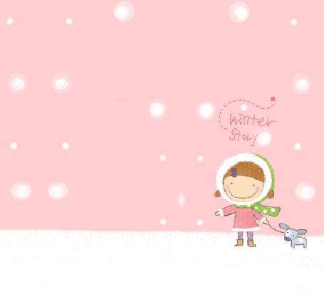 Фото Девочка зимой гуляет с собачкой (Winter Story)