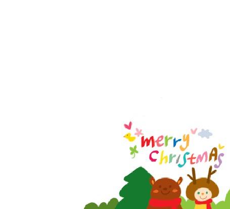 Фото Медвежонок в красном шарфе и человечек в шапки с рожками (merry christmas)