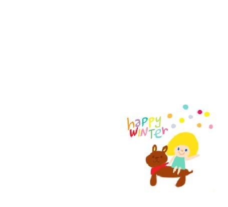 Фото Девочка сидит на медвежонке и машет ручкой (happy winter)