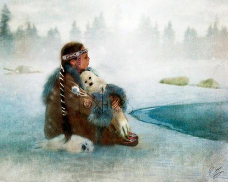 Фото Чукотская девочка обнимает маленького тюленя (Foxfires)