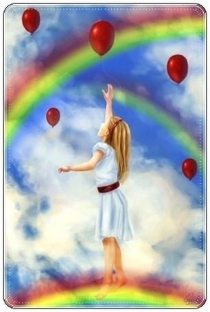 Фото Девочка стоит на радуге пытаясь поймать воздушный шарик (© Флориссия), добавлено: 13.12.2011 20:54