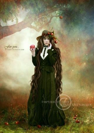 Фото Девушка в старомодном платье и шляпке держит яблоко (copyright by Cindy Crindsten Deviantart, for you...) (© Radieschen), добавлено: 15.12.2011 19:20