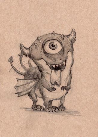 Фото Маленький дракончик-циклоп машет хвостиком