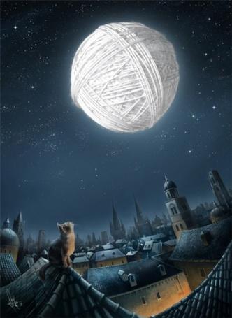 Фото Кот сидя на крыше смотрит на Луну (© Штушка), добавлено: 21.12.2011 22:32