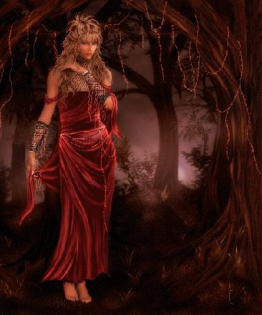 Фото Женщина-вамп в мистическом лесу